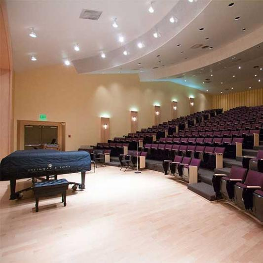 Piano and seating in Ward Hall