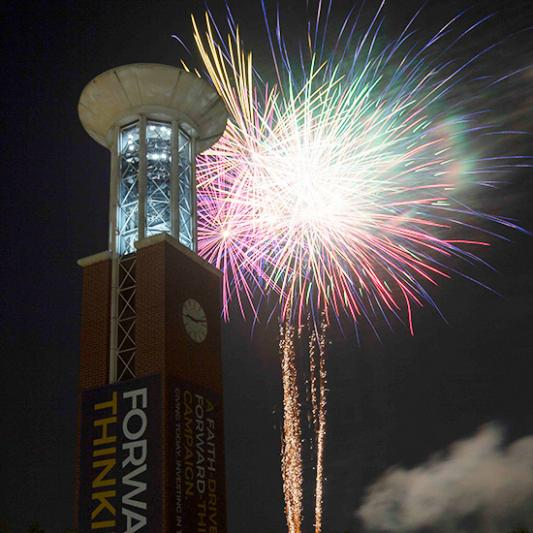 Fireworks explode at Lipscomb.