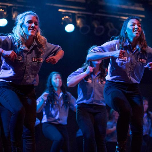Students stomp together during Stompfest.