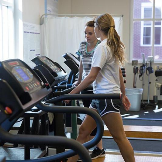 Students work out in the SAC.