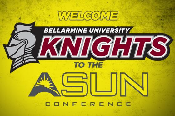 Bellarmine and ASUN logos on yellow background
