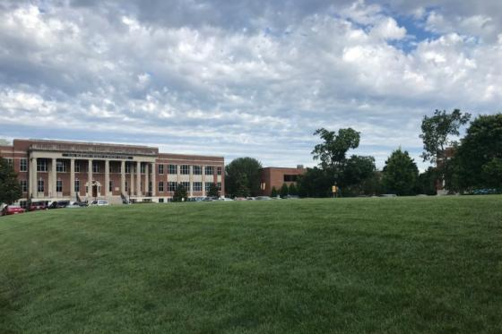 Burton Health Sciences Building from the quad view