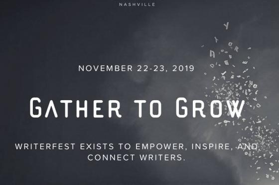 """Dark background with words in white that say """"Gather to Grow"""""""