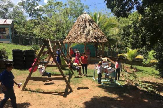 Children on a playground in Honduras