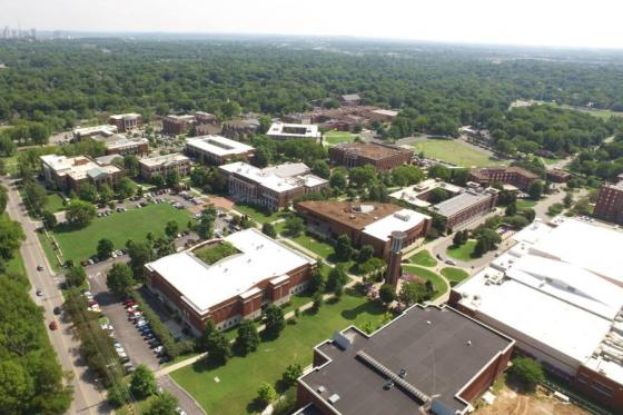 Aerial view of the Lipscomb campus.