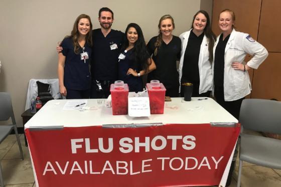 Lipscomb pharmacy students at a flu shot clinic