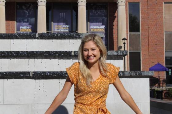 Lauren Flynt sitting on Osman Fountain