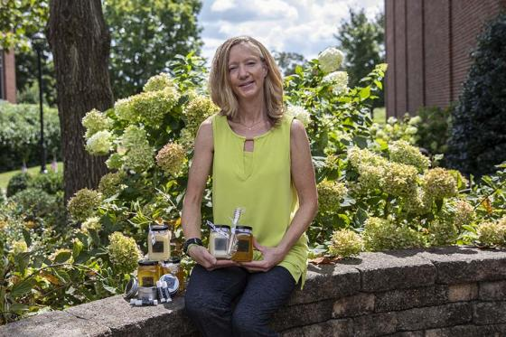 Gail Humes with her honey products