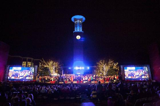 Lighting of the Green stage in front of Allen Bell Tower